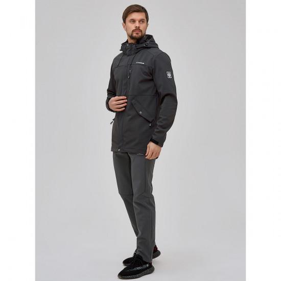 Мужской осенний весенний костюм спортивный softshell темно-серого цвета 02018TC