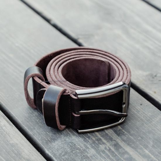 Кожаный мужской ремень, коричневый