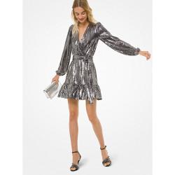 Mirror Dot Matte-Jersey Crossover Dress