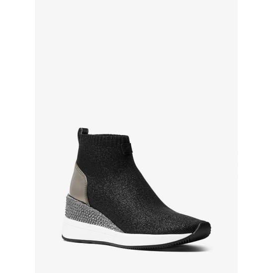 Skyler Embellished Metallic Stretch Knit Sock Sneaker