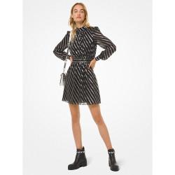 Metallic Stripe Silk Jacquard Dress